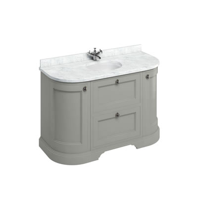 Freestanding 134 Curved Vanity Unit with drawers - Minerva Carrara White worktop
