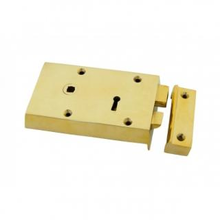 Polished Brass Left Hand Rim Lock - Small