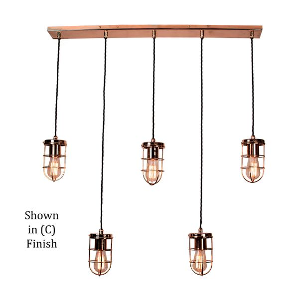 Cellar Single 5 Light Pendant - Polished Copper