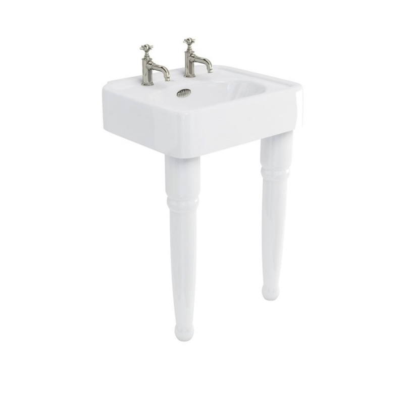 Arcade 600mm Basin with Overflow & Ceramic Consoles Legs