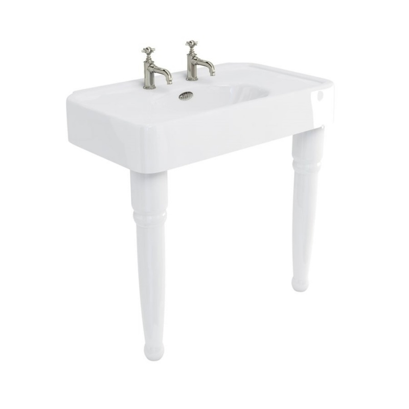 Arcade 900mm Basins with Overflow & Ceramic Console Legs