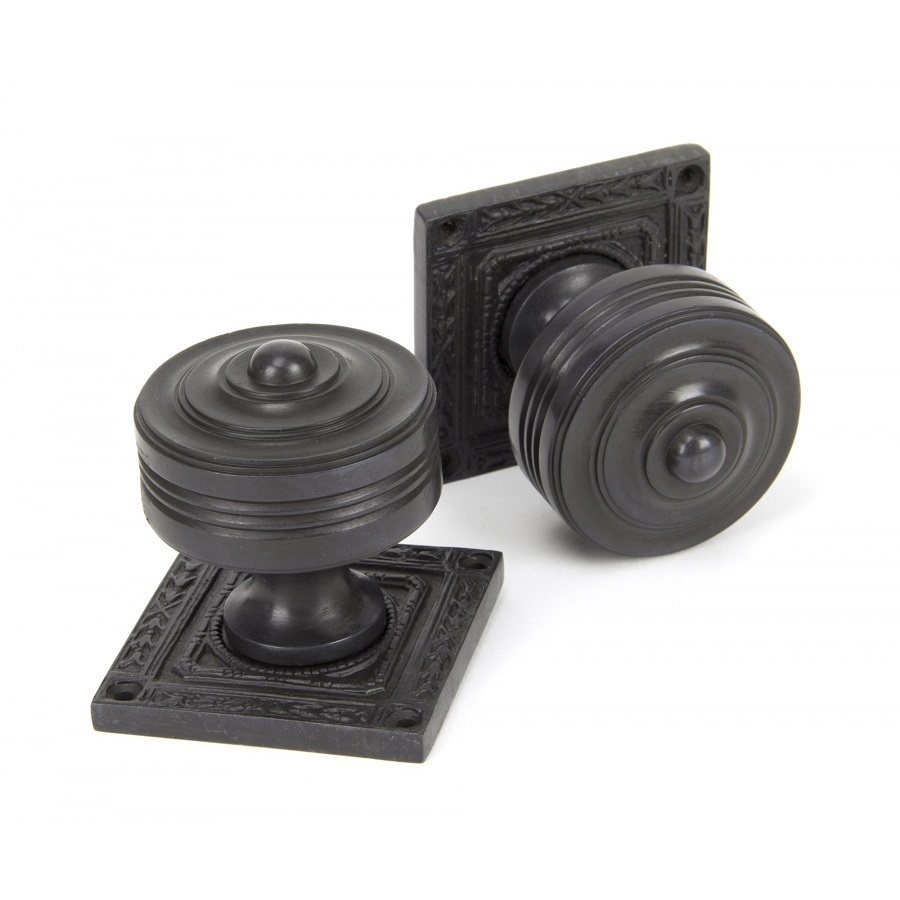 Aged Bronze Tewkesbury Square Mortice Knob Set