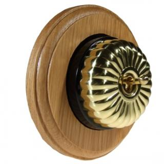 1 Gang Intermediate Asbury Light Oak Wood, Polished Brass Fluted Dome Period Switch