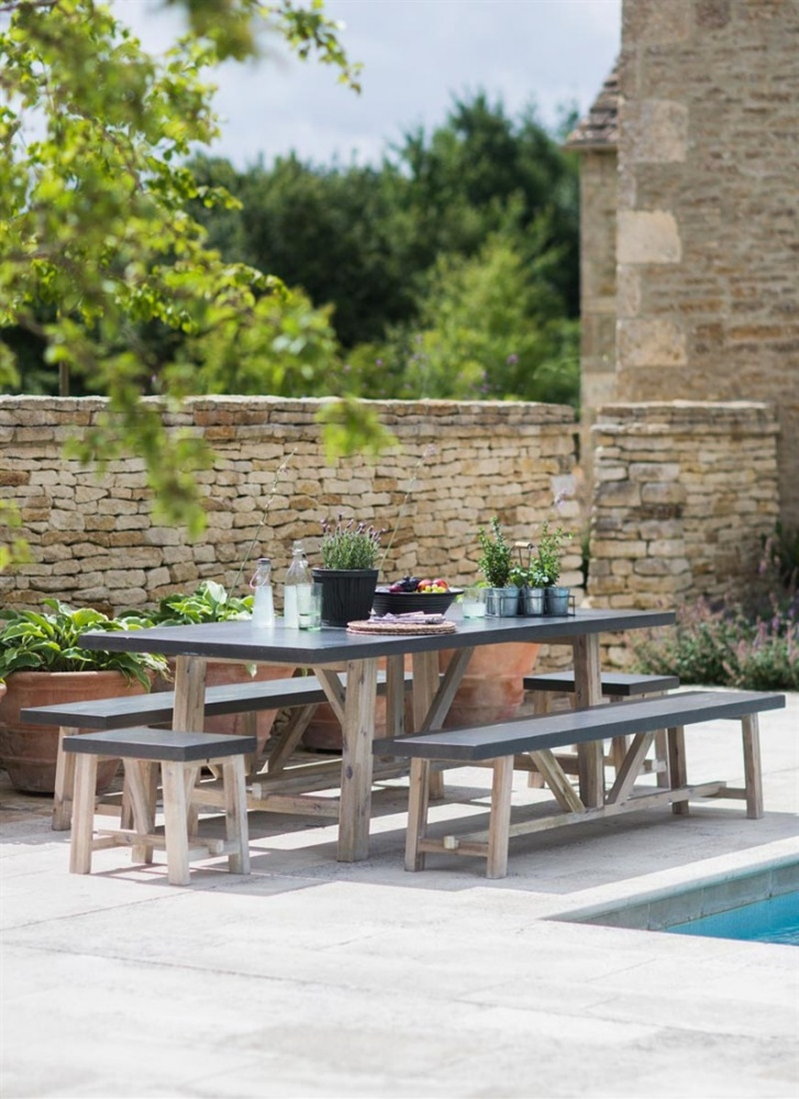 & Chilson Table and Bench Set - Cement Fibre - Large