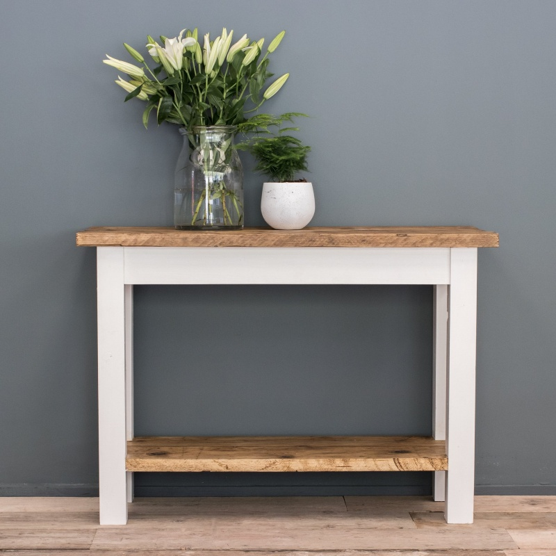Painted Farmhouse Console Table with Shelf