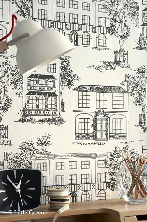 Little greene 50s line papers hampstead wallpaper for Papel pintado para oficinas