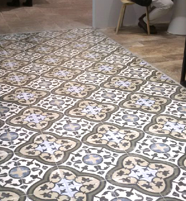 White And Gold Tile Room