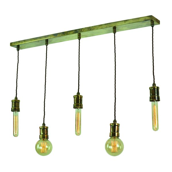 Tommy 5 Light Pendant - Antique Brass