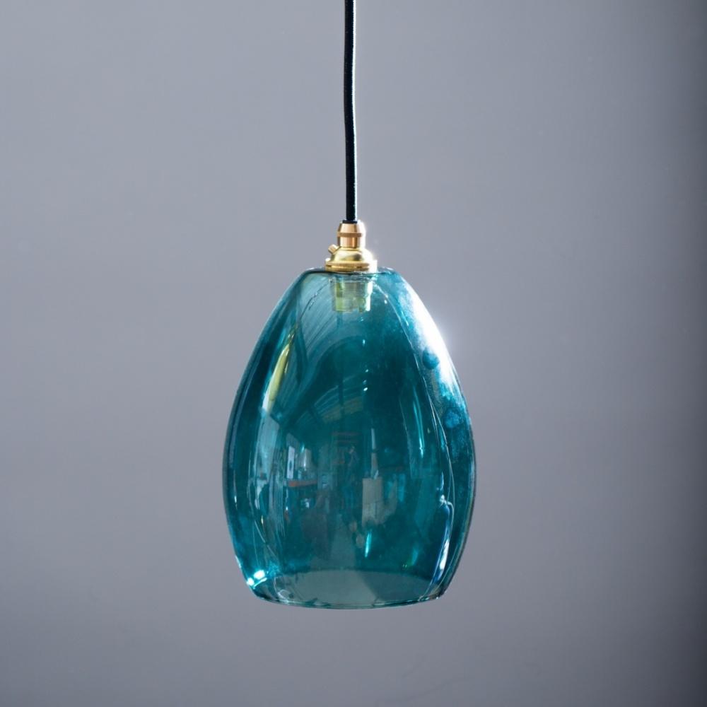 Bertie Mid Teal Glass Pendant Light