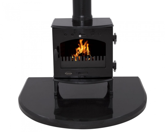 Black Granite Curved Stove Hearth