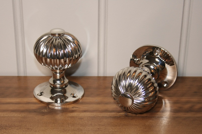 Reeded Period Door Knob - Polished Nickel