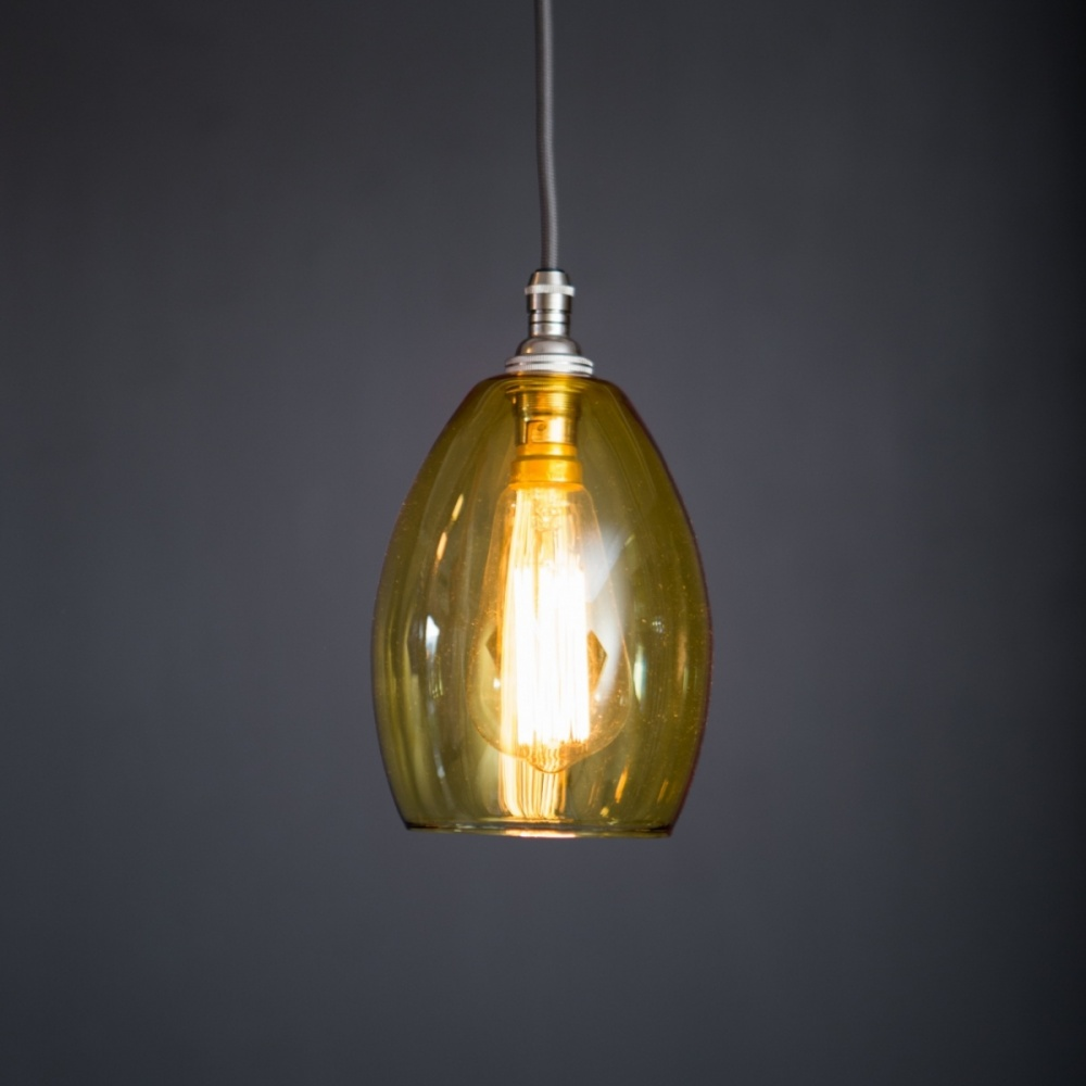 Bertie Small Yellow Glass Pendant Light