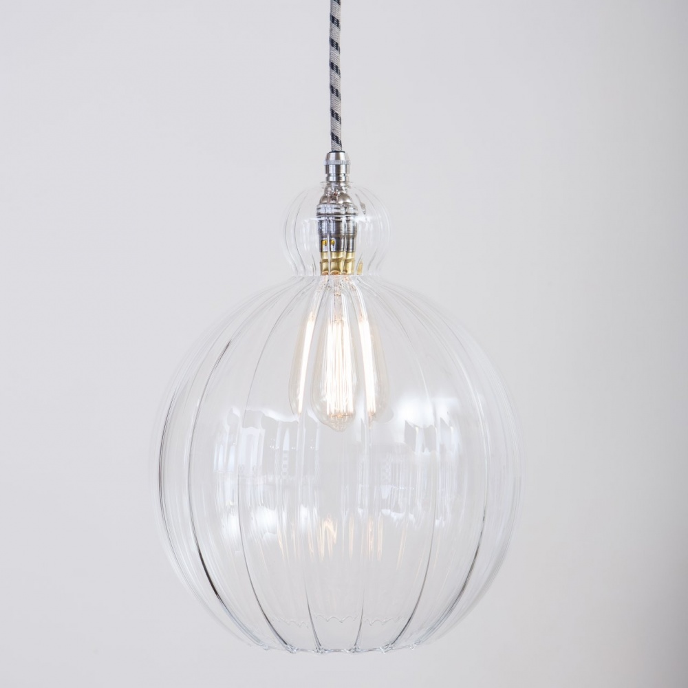 Mabel Large Ribbed Clear Glass Pendant