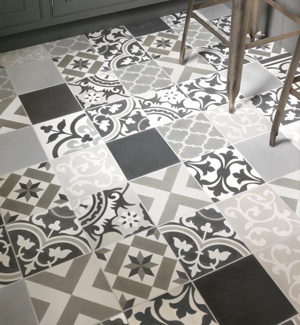 Encaustic Patchwork Grey Pattern Tile