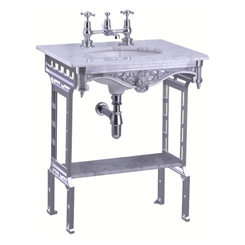 Carrera marble top & basin with polished aluminium washstand