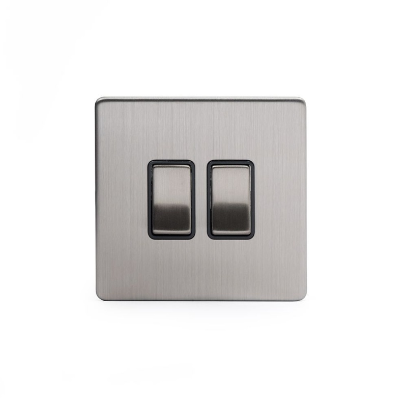 The Lombard Collection Satin Steel Luxury 10A 2 Gang 2 Way Switch with Black Insert