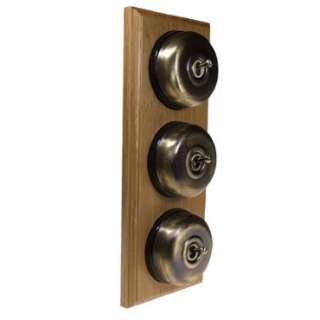 3 Gang 2 Way Asbury Light Oak Wood, Smooth Dome Period Switch