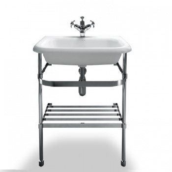 Medium roll top basin with stainless steel stand