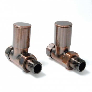 Milan Straight Antique Copper Radiator Valves (Pair)