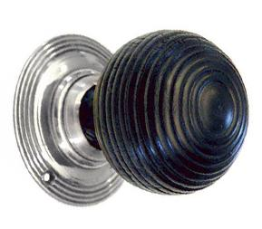 Solid Ebonised Round Beehive Door Knobs Nickel
