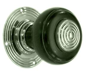 Solid Ebonised Villa Door Knob Nickel