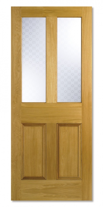Traditional Oak Internal Doors - Parlour Glazed Victorian Etched