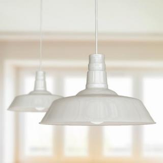 Large Argyll Industrial Pendant Light Clay White Cream