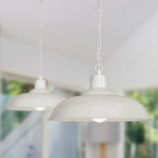 Portland Reclaimed Style Industrial Pendant Light Clay White Cream