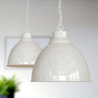 Wardour Industrial Bay Pendant Light Clay White Cream