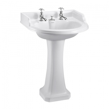 Classic Round 65cm Basin with Invisible Overflow and Pedestal