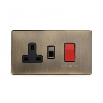 The Charterhouse Collection Aged Brass 45A Cooker control With Black insert