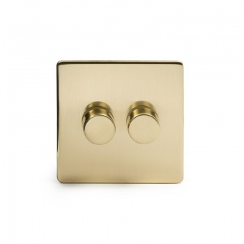 The Savoy Collection Satin Brass Period 2 Gang 2 Way Trailing Edge Dimmer