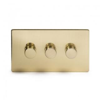Brushed Brass 3 Gang 2 Way 400W Trailing Edge Dimmer