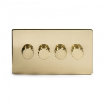 The Savoy Collection Satin Brass Period 4 Gang 2 Way Trailing Edge Dimmer