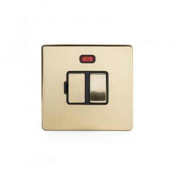 The Savoy Collection Satin Brass Period 13A Double Pole Switched Fuse Connection Unit With Neon With black insert