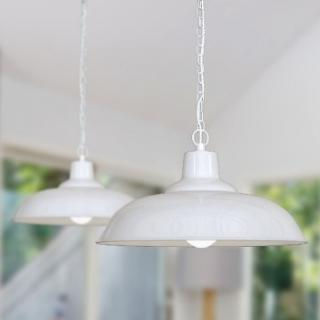 Portland Reclaimed Style Industrial Pendant Light Pure White