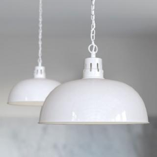 Berwick Rustic Dome Pendant Light Pure White