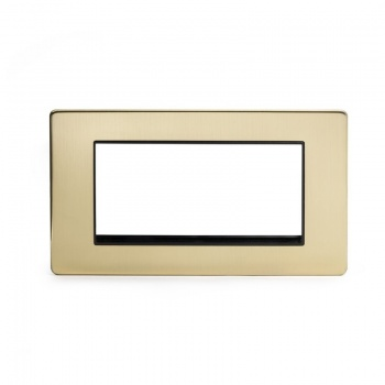 The Savoy Collection Satin Brass Period Metal Double Data Plate 4 Modules