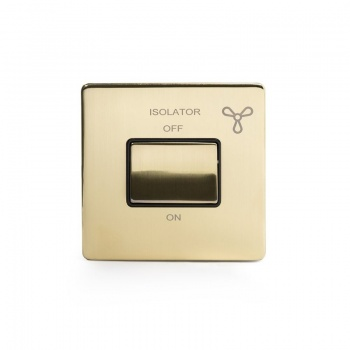 The Savoy Collection Satin Brass Period 3-Pole Fan Isolator Switch With Black Insert