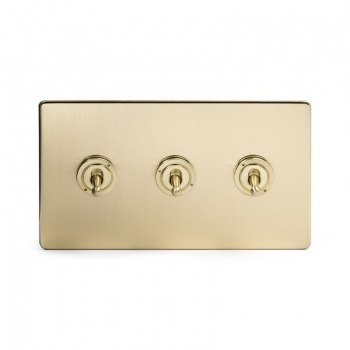 The Savoy Collection Satin Brass Period 3 Gang 2 Way Dolly Switch