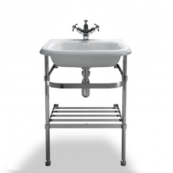 Small roll top basin with stainless steel stand