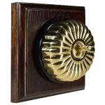 1 Gang Intermediate Asbury Dark Oak Wood, Fluted Polished Brass Dome Period Switch