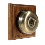 1 Gang 2 Way  Medium Oak Wood, Smooth Dome Period Switch