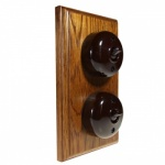2 Gang Bakelite Switch - Medium Oak