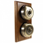 2 Gang 2 Way medium Oak Wood, Smooth Dome Period Switch