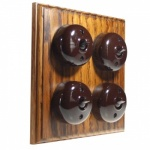 4 Gang Bakelite Switch Medium Oak