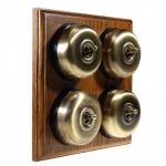 4 Gang 2 Wa Asbury Medium Oak Wood, Smooth Dome Period Switch