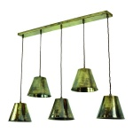 Map Room 5 Light Pendant - Antique Brass