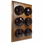 6 Gang Bakelite Switch - Medium Oak
