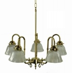 Large Swan Solid Brass 5 Light Ceiling Light